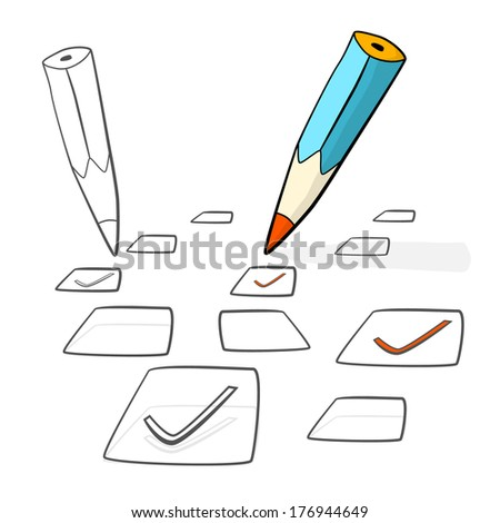 Pencil Check Option Isolated on White Background - stock photo