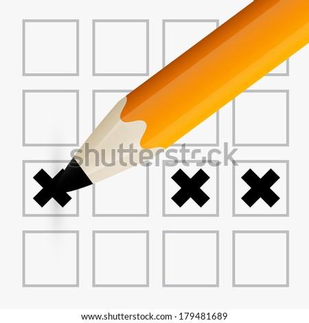 Pencil Check Option - Orange Pencil Filling the Form - stock photo