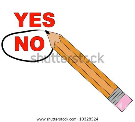 pencil choosing no and circling it - stock photo