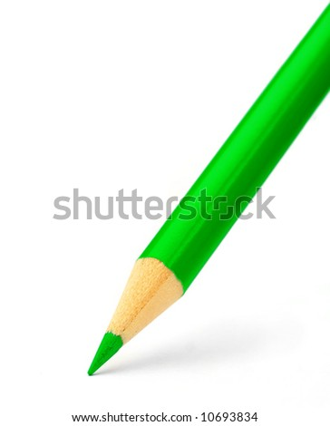 pencil close up on white - stock photo