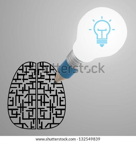pencil creative light bulb head drawing the best idea diagram as concept - stock photo