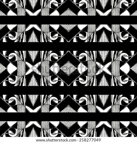 Pencil drawing and digital edition technique black and white tones tribal or ethnic art background pattern with geometric and abstract symbols motif in hard contrast. - stock photo