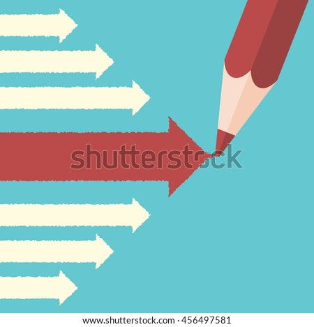 Pencil drawing big leading red arrow among many small white ones. Leadership, success, uniqueness and management concept - stock photo