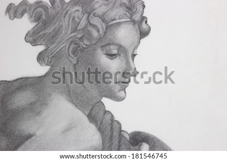 pencil drawing copy of Michelangelo's painting  - stock photo