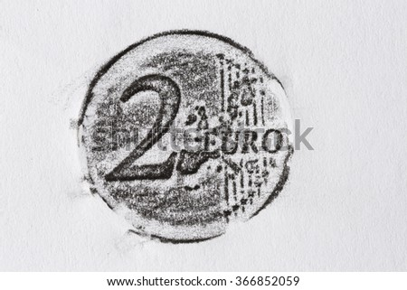 Pencil drawing 2 euro coin on white paper - stock photo