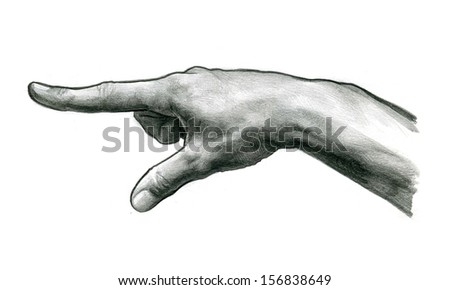 pencil drawing Finger Touch - stock photo
