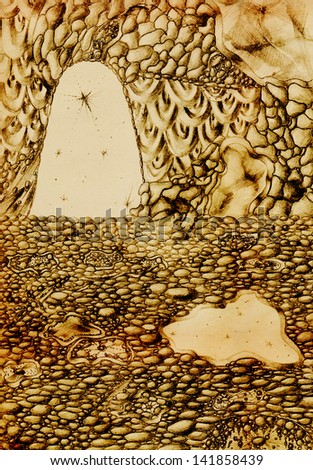 Pencil drawing from inside the cave - stock photo