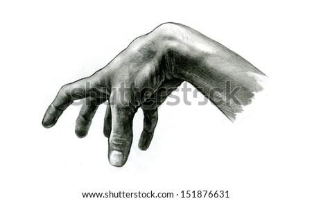 pencil drawing Grabbing Hand - stock photo