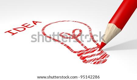 Pencil drawing light bulb, idea concept - stock photo