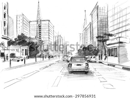 Pencil drawing of a big modern city of San Paulo in Brasilia in a sketchy style - stock photo