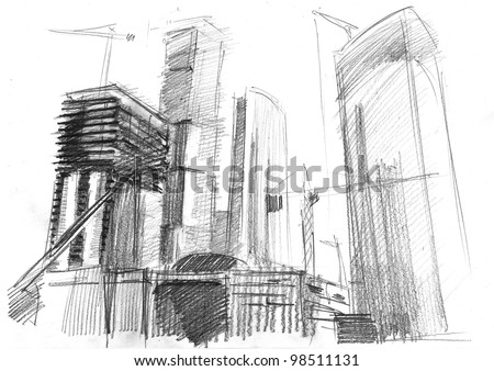 Futuristic Skyscrapers Drawings Pencil Drawing of a Big Modern