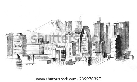 Pencil Drawing Of A Big Modern City With Skyscrapers Tokyo Against Volcano