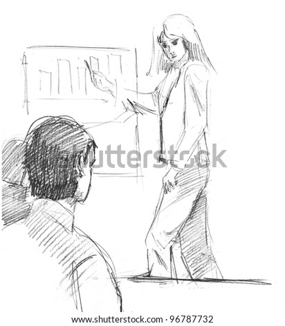 pencil drawing of a business presentation with a blond woman speaker and listeners - stock photo
