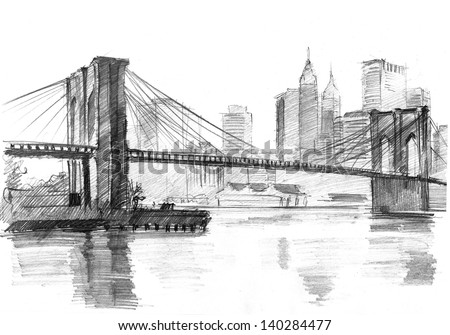 Pencil Drawing Landscape Set Skyscrapers Brooklyn Stock Illustration 140284477