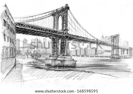Pencil drawing of a landscape with set of skyscrapers and Manhattan bridge in New York - stock photo
