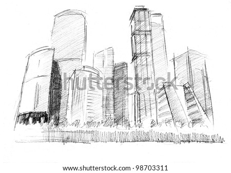 Pencil drawing of a modern skyscrapers with an unruffled walls - stock photo
