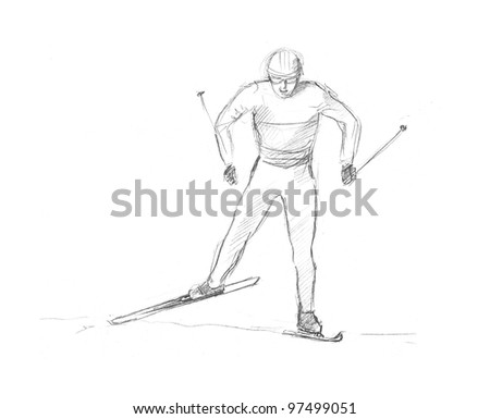 pencil drawing of a skier who runs on the competitions