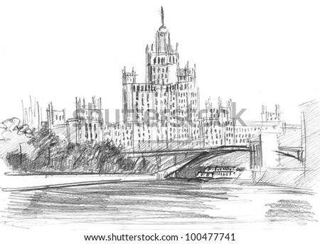 pencil drawing of a skyscraper in Moscow near the Moscow river
