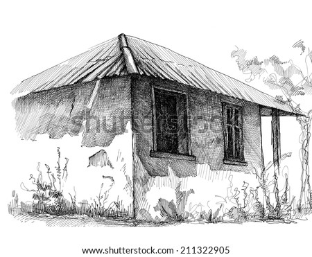 Old Village House Drawing Pencil Drawing of a Village