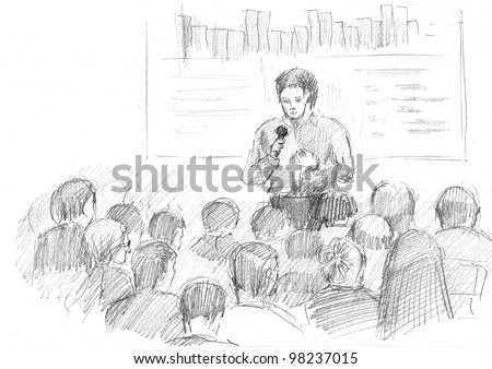 pencil drawing of a young manager making a presentation in a big auditorium - stock photo