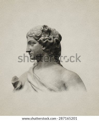 Pencil Drawing Of Ancient Sculpture On Old Paper Stock Photo