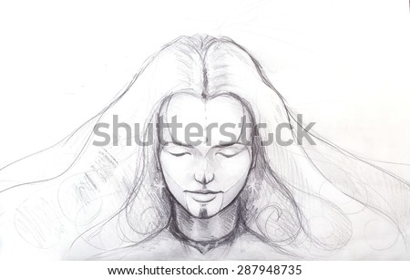 Pencil drawing of beautiful meditation girl, and tattoo on face. and star earring. - stock photo