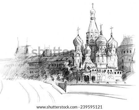 Pencil drawing of central sight of Moscow, St. Basil Church (Pokrova) and GUM-market - stock photo