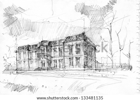 Pencil drawing of Chateau de Champs-sur-Marne, Ile de France, Europe