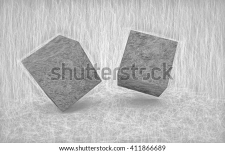 pencil drawing of cubes  - 3D illustration - stock photo