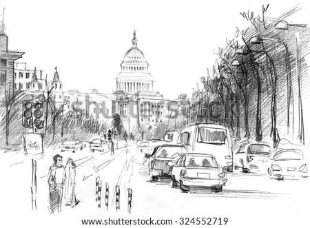 Pencil drawing of East Capitol Street with intensive traffic  and pedestrian - stock photo