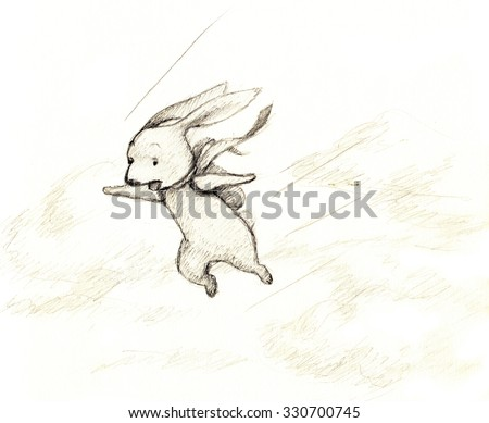 pencil drawing of flying bunny - stock photo