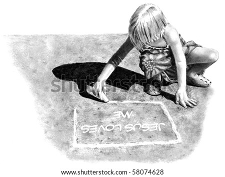 """Pencil Drawing of Girl Writing """"Jesus Loves Me"""" on Pavement - stock photo"""