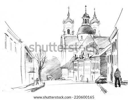 Pencil drawing of old street and Church in Moscow, Russia - stock photo