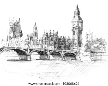 Pencil drawing of the Palace of Westminster or Houses of Parliament or Clock Tower - stock photo