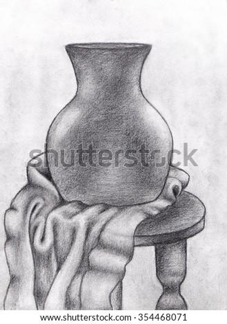 Pencil Drawing Vase Wrinkled Fabric Stock Illustration 354468071