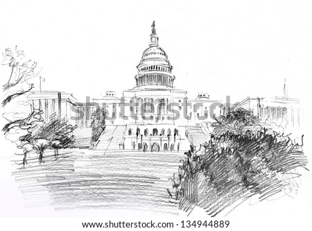 Pencil drawing of Washington DC Capitol  with garden, USA - stock photo