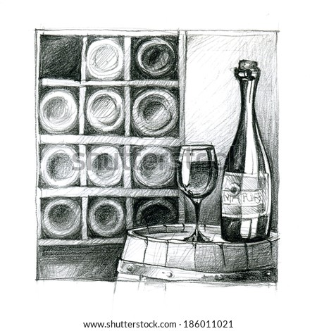pencil drawing of wine cellar