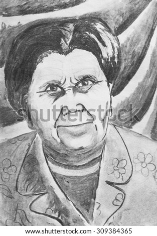 Pencil drawing. Portrait of grandmother - stock photo