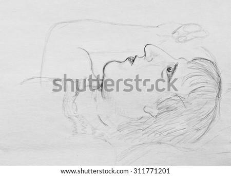Pencil drawing. Portrait of lying men - stock photo
