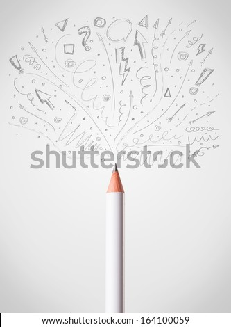 Pencil drawing sketchy arrows and lines - stock photo