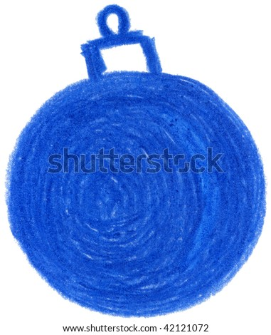 pencil drawn blue christmas ornament - stock photo
