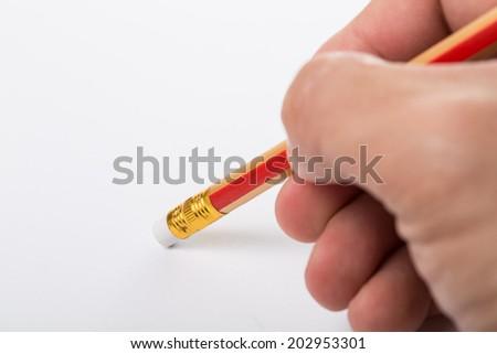 Pencil erased something isolated with white background - stock photo