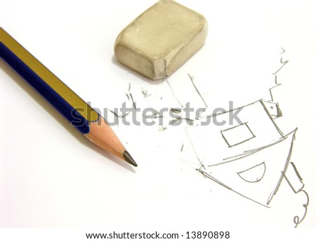 Pencil, eraser and picture of house - stock photo