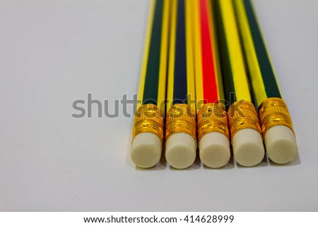 pencil eraser on white background . - stock photo