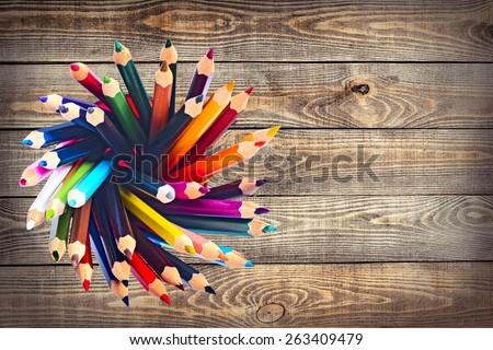 Pencil. Exploding color pencils - stock photo