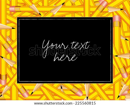 Pencil Frame, colorful horizontal border of sharp yellow pencils with erasers, copy space on black background. - stock photo