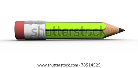 Pencil  green on white background- This is a 3d render illustration