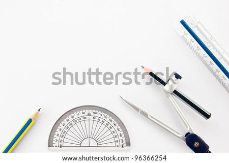 Pencil Half Circle Ruler Dividers Ruler Stock Photo 96366254 Shutterstock