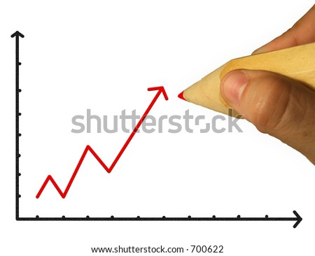 Pencil & Hand & Chart - stock photo