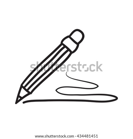 Pencil icon line doodle symbols. - stock photo